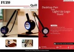 Fuzo Quill Desktop Promotional Pen With Light Up Logo Stand