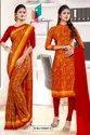 Maroon Yellow Paisley Print Premium Italian Silk Crepe Uniform Sarees For Institutions