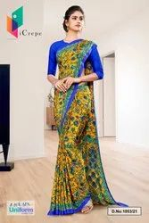 Yellow Blue Flower Print Premium Italian Silk Crepe Uniform Sarees For College Students