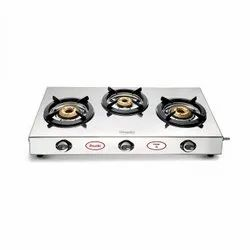 Silver Preethi Ember - SSGS003 (3B) Stainless Steel 3-Burner Gas Stove, For Kitchen