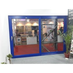 Blue Sliding Office Aluminium Door