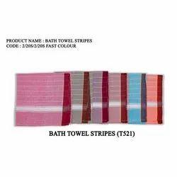 Striped White Bath Towel Stripes Cotton, Size: 35x70 Inches