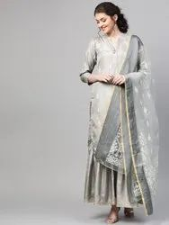 La Firangi Women Grey & White Pure Silk Printed Kurta With Sharara & Dupatta