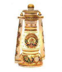 Marble Lantern Handmade Multi Stone Work Home And Table Decorative Showpiece