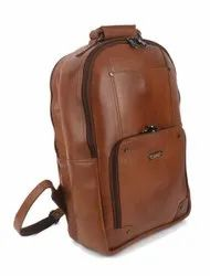 Blueice Unisex Brown Leather Laptop Backpack, Number Of Compartments: 1 Compartment,1 Pocket, Bag Capacity: 10 Kg