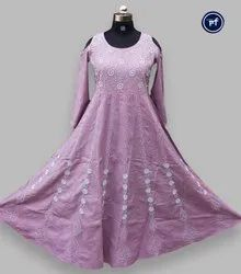 Cotton Embroidered Beautiful Floor Length Chikankari Cold Shoulder dress