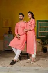 Ram Leela 1 Pure Cotton With Embroidery Work Couple Top With Bottom Catalog