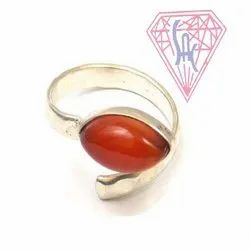 Carnelian Gemstone Ring with Silver Plated