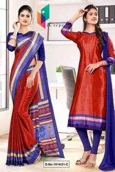 Red Ink Blue Premium Italian Silk Crepe Saree for Student Uniform Sarees