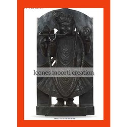 Pure Black Marble Shrinath Ji Statue