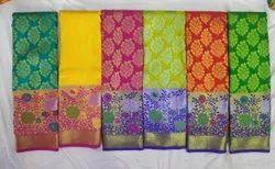 Wedding Brocade Silk Saree, With Blouse Piece