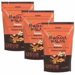 Makhanawalas Roasted Makhana (Foxnuts)Cheesy Italiana, Pack of 3, 80 g Each.