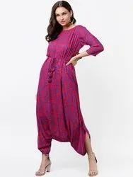 La Firangi Pink & Blue Printed Basic Jumpsuit