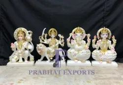 Painted Hindu White Marble Indian God Statue, For Worship, Size: 12