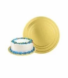 Golden Paper Board Cake Base Round - Gold , Silver, For Bakery