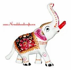 Nirmala Handicrafts Metal Meenakari White Trunk Up Elephant Statue