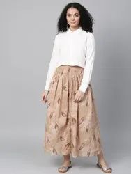La Firangi Women Off-white & Beige Solid Shirt With Printed Skirt