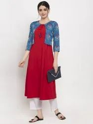 Women Solid Printed Crepe A-Line Jacket Kurta (Red, Blue)