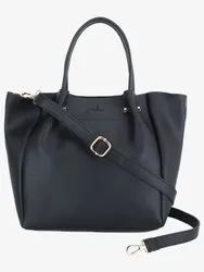 Solid Black Small Handbag