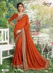 Orange Color Swarovski Work Saree
