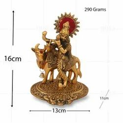 Gold Plated Krishna Back Cow