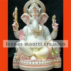 White Painted Marble Ganesh Statues
