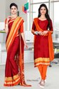 Italian Crepe Saree Salwar Combo For Institute Uniform