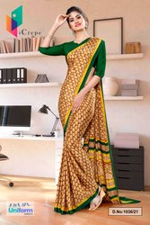 Brown Bottle Green Premium Italian Silk Crepe Saree For Annual Function Uniform Sarees