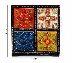 Wooden Meenakari Jewelry Box Enamel Work Decorative Showpiece