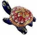 Nirmala Handicrafts Metal Meenakari Tortoise Statue Enamel Work Figurine