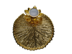 Aluminium Decorative Gold Lotus Platter Tray Tea light