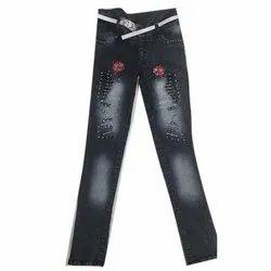 Regular Ultra Low Rise Black Ladies Jeans, Waist Size: 26x30