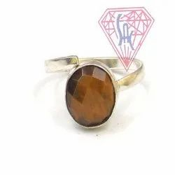 Tiger Eye Gemstone Ring with Silver Plated