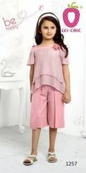 Girl Soft Pink Net Fabrics Floral Applique Stylish Top And Pant