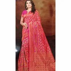 Veenayak Party Wear Kalindi silk saree, 6 m (with blouse piece)