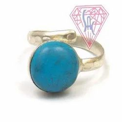 Turquoise Gemstone oval shape Ring with silver plated