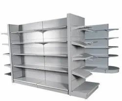 Grey Metal Grocery Store Rack.