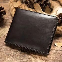 Black Button Swiss Design Artificial Leather Bifold Wallet, Card Slots: 7