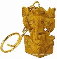 Wooden Ganesha Key Chain Ganesha Statue Key Ring