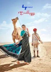 Lt Fabric Party Wear Silk Cotton with Rich Pallu Saree, 5.5 m (separate blouse piece)
