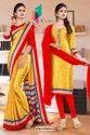 Yellow Red Premium Italian Silk Crepe Saree For Receptionist Uniform Sarees