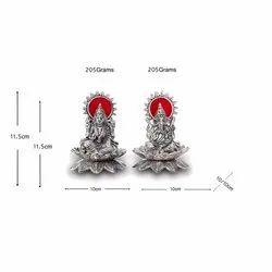 Silver Plated Laxmi Ganesh Kamal Small