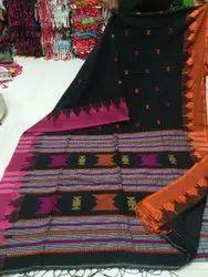 Ladies Black Printed Cotton Saree, With blouse piece, 6.3 m