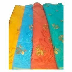 Party Wear Cotton Embroidery Sarees, With Blouse Piece, 6.20 m