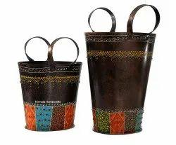 Iron Bucket Flower Vase Multipurpose Table And Garden Decor Item