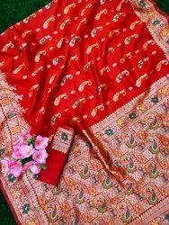 Wedding Wear Mix Stylish Lichi Silk Meenakari Weaving Saree, With Blouse Piece, 5.5 m (Separate Blouse Piece)