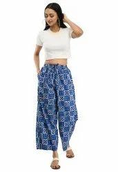 Blue Cotton Ladies Pyjama, Free Size