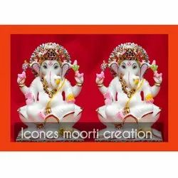 Pure White Marble Ganesh Statues