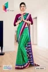 Green Wine Premium Italian Silk Crepe Saree For College Uniform Sarees 1029
