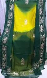 Pure Chiffon Zari and Sequence Handwork Saree with single color blouse.